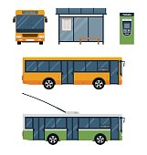 Flat style concept of public transport