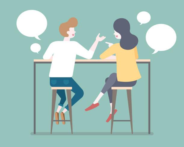 bildbanksillustrationer, clip art samt tecknat material och ikoner med platt stil par pratar med varandra på bar avföring illustration - två människor