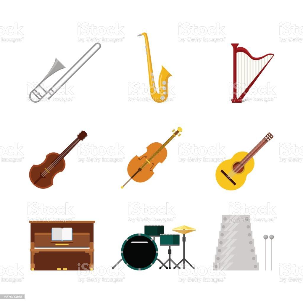 Flat Style Creative Modern Classic Music Band Instruments