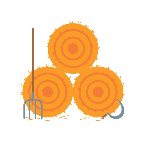 ilustraciones, imágenes clip art, dibujos animados e iconos de stock de diseño de estilo plano secado pajar aislado en ilustración de vector de fondo blanco. la bala de heno, hayfork y hoz signos iconos como símbolo de la cosecha de otoño, pajar, hayrick - straw field