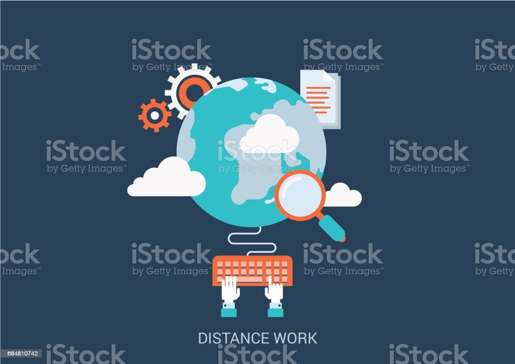 Flat style design vector illustration distance work concept. Collage of global online workplace search loupe magnifying glass gear cloud document hand typing keyboard. Big flat conceptual collection. - ilustración de arte vectorial