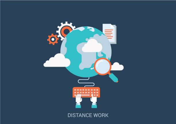 flat style design vector illustration distance work concept. collage of global online workplace search loupe magnifying glass gear cloud document hand typing keyboard. big flat conceptual collection. - telecommuting stock illustrations, clip art, cartoons, & icons