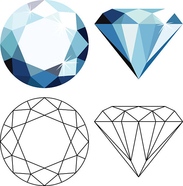 flat style diamonds - jewelry stock illustrations