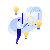 Vector modern flat education illustration. Male with magnifying glass study book with lamp idea symbols. Concept of knowledge, learning, university, college courses. Design for poster, flyer, card, banner