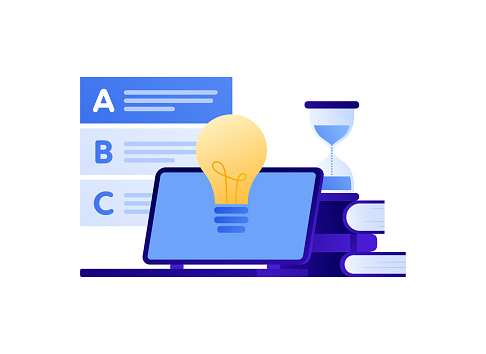 Flat style education exam illustration. Laptop, book, hourglass, bulb and test.
