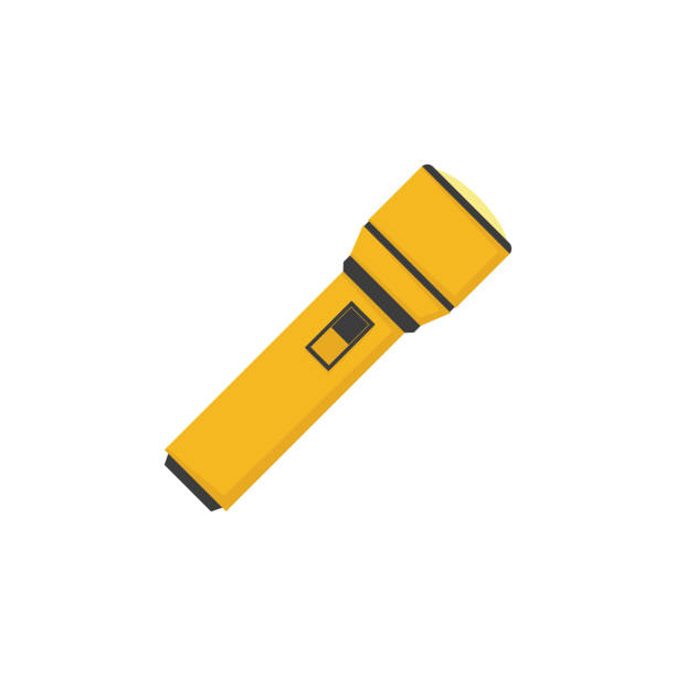 flat style electric torch on white background flat style electric torch on a white background flashlight stock illustrations