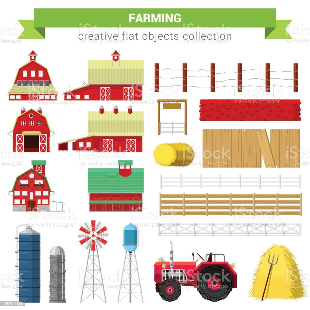 Flat style farming agriculture icon set. Farm rancho building barn mill container storage processing fence stack water tank tractor. Creative objects collection. vector art illustration