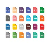 Flat style file type / extensions icons