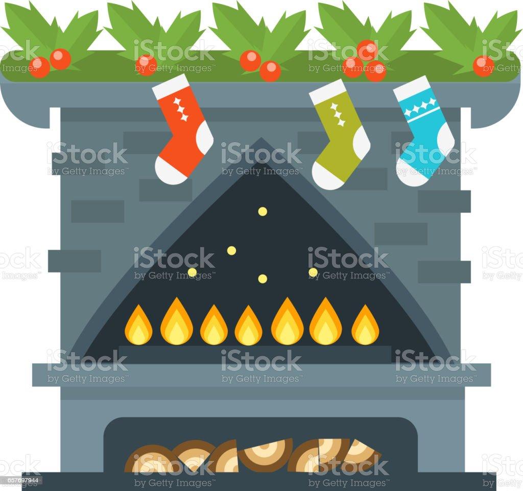 Flachen Stil Kamin Symbol Design Haus Zimmer Warm Weihnachten Flamme ...