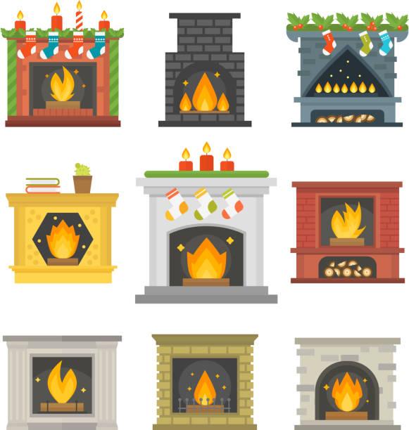 ilustrações de stock, clip art, desenhos animados e ícones de flat style fireplace icon design house room warm christmas flame bright decoration coal furnace and comfortable warmth energy indoors vector illustration - braseiro