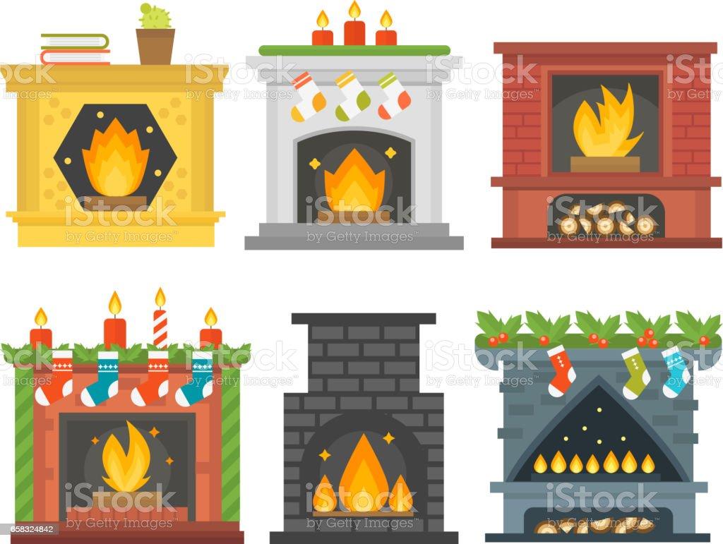 Ilustración del vector de estilo plano chimenea icono diseño casa habitación cálida Navidad llama brillante decoración horno del carbón y la energía de calor confortable en el interior - ilustración de arte vectorial