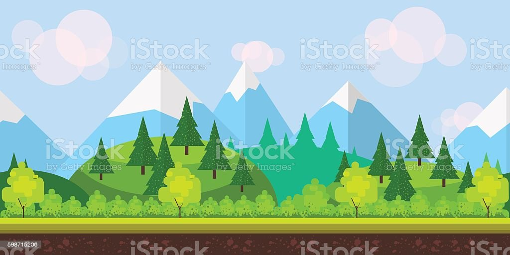 Flat style game background vector art illustration