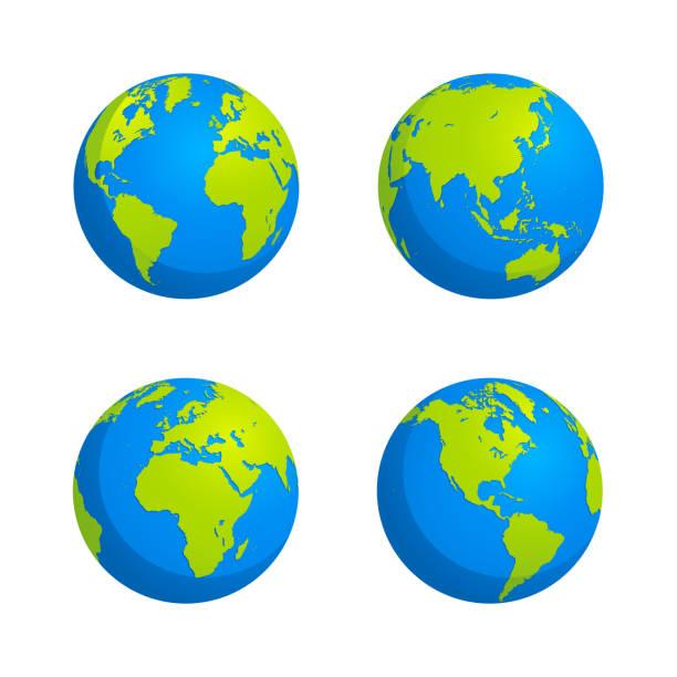 フラットスタイルグローブデザインストックイラスト - 地球点のイラスト素材/クリップアート素材/マンガ素材/アイコン素材
