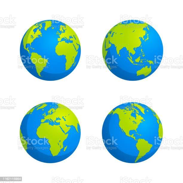Flat Style Globe Design Stock Illustration - Arte vetorial de stock e mais imagens de Abstrato
