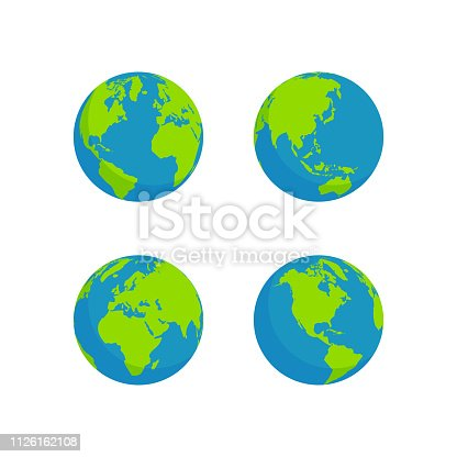 globe set isolated white background, flat style design
