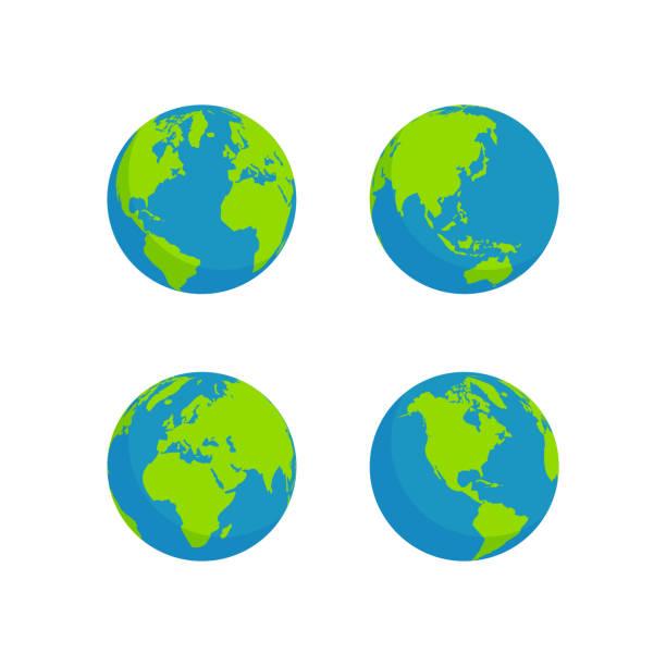 flat style globe design globe set isolated white background, flat style design planet earth stock illustrations