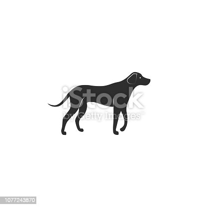 Vector illustration. Flat style icon of rhodesian ridgeback for different design. Cute hunting dog. Simple silhouette pictogram for different design.