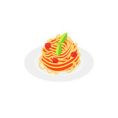 Vector illustration. Flat style icon of spaghetti with tomato sauce. Traditional italian food for different design.