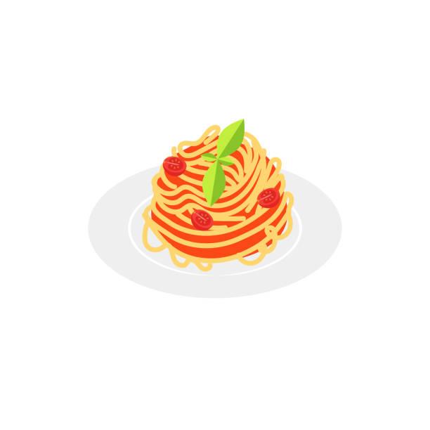 flache stilikone spaghetti mit tomatensauce. - spaghetti stock-grafiken, -clipart, -cartoons und -symbole