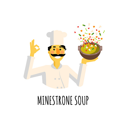 Flat style icons of minestrone soup and cook with text.