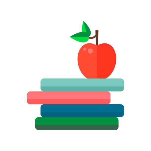 Flat style icons stack of books and an apple. Flat style icons stack of books and an apple. Cute simple elements for study. Back to school objects. Education Concept. book clipart stock illustrations