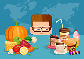Flat style illustration of man craving for junk food instead of healthy diet.