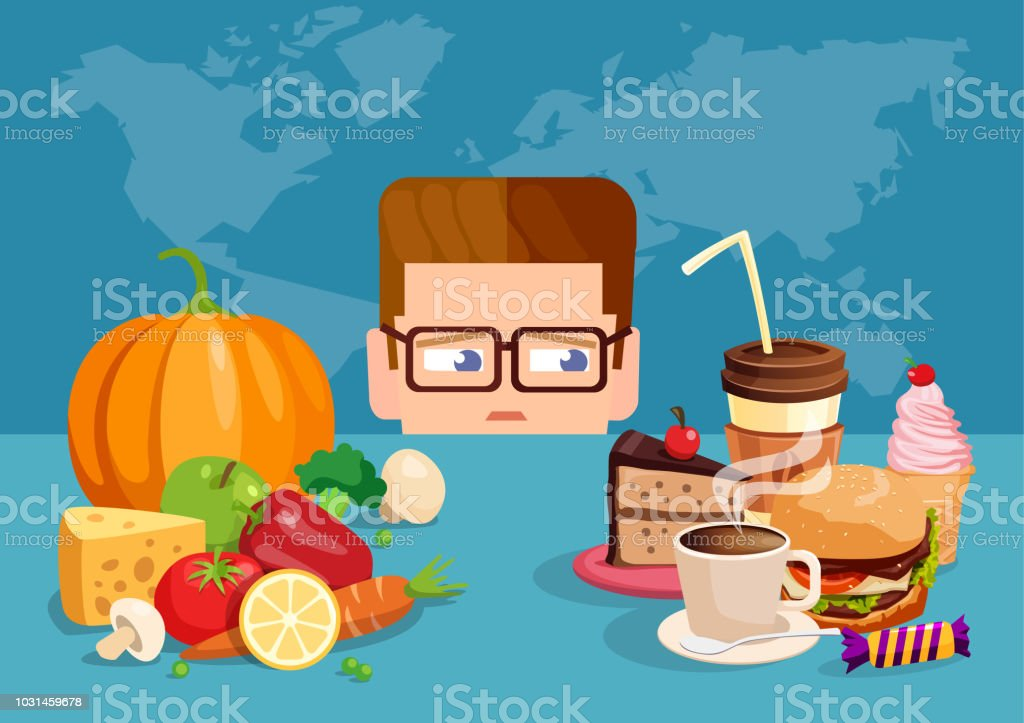 Illustration de style plat d'homme envie de malbouffe au lieu de saine alimentation. - Illustration vectorielle