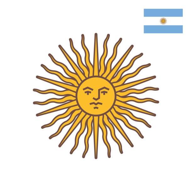 flat style illustration of symbol of argentina - sun of may. - argentina flag stock illustrations, clip art, cartoons, & icons