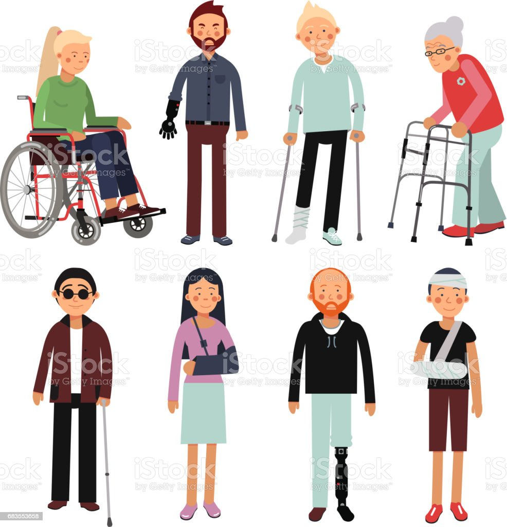 Flat style illustration set of disabled people in different poses. Vector pictures of hospital patients isolated vector art illustration