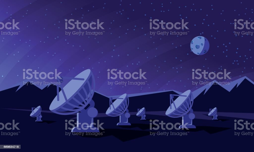 Flat style illustration with satellite dishes in the valley with mountains and moon on background. vector art illustration