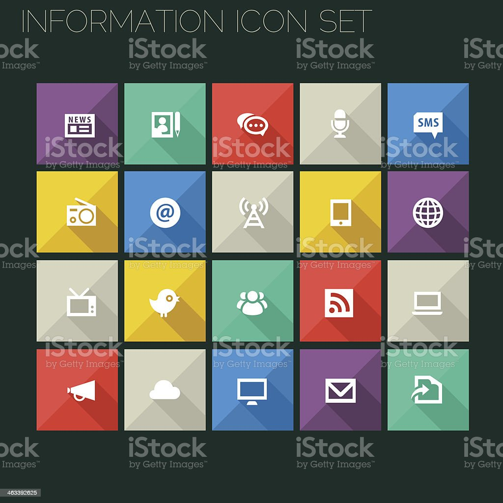 Flat style information icons with long shadows vector art illustration
