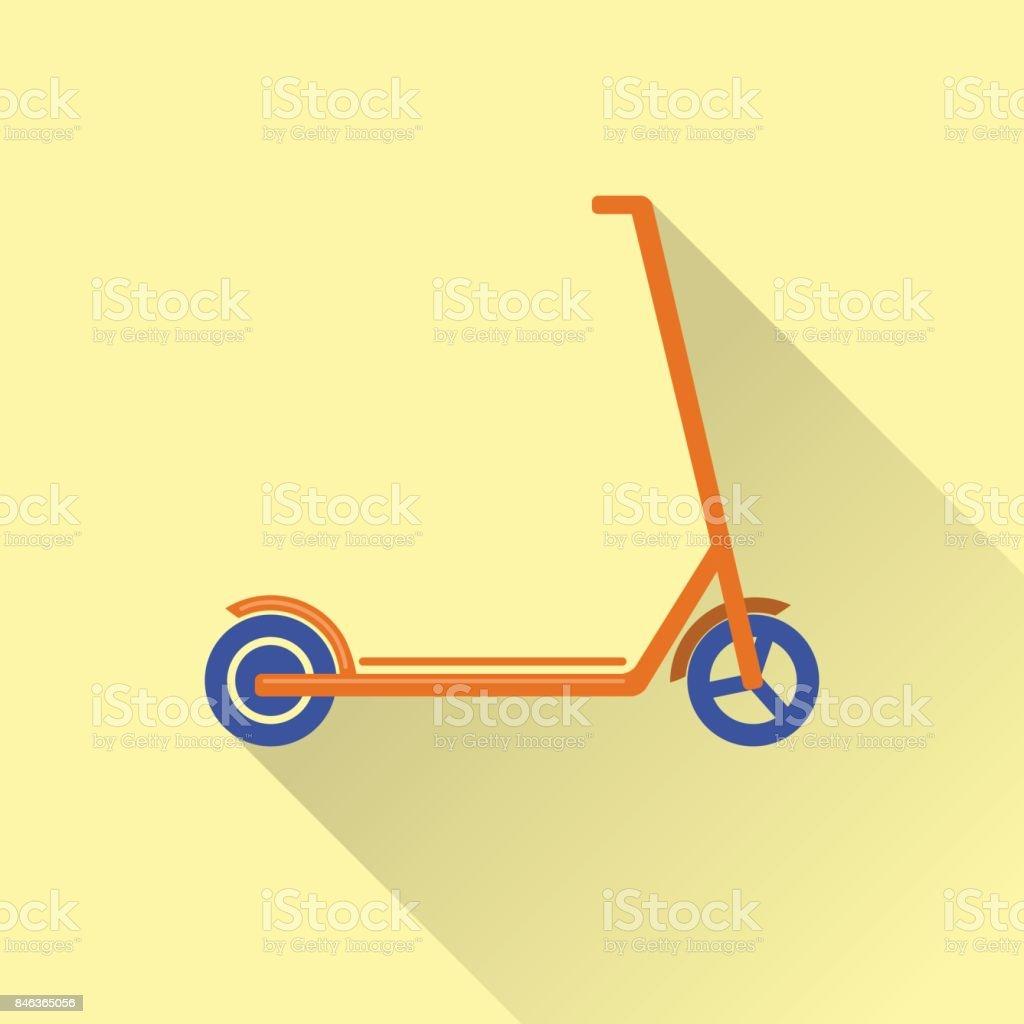 Flat style kick scooter icon vector art illustration