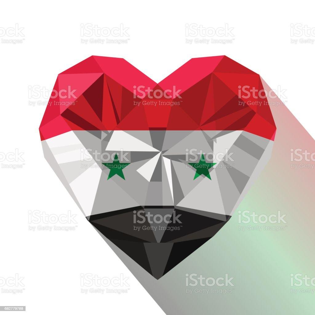 Flachen Stil Logo Symbol Der Liebe Syrien. Lizenzfreies Vektor Illustration