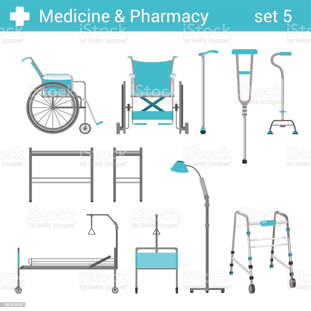 Flat style medical hospital disabled equipment icon set. Bed, wheelchair, crutches. Medicine pharmacy collection. royalty-free flat style medical hospital disabled equipment icon set bed wheelchair crutches medicine pharmacy collection stock vector art & more images of bed
