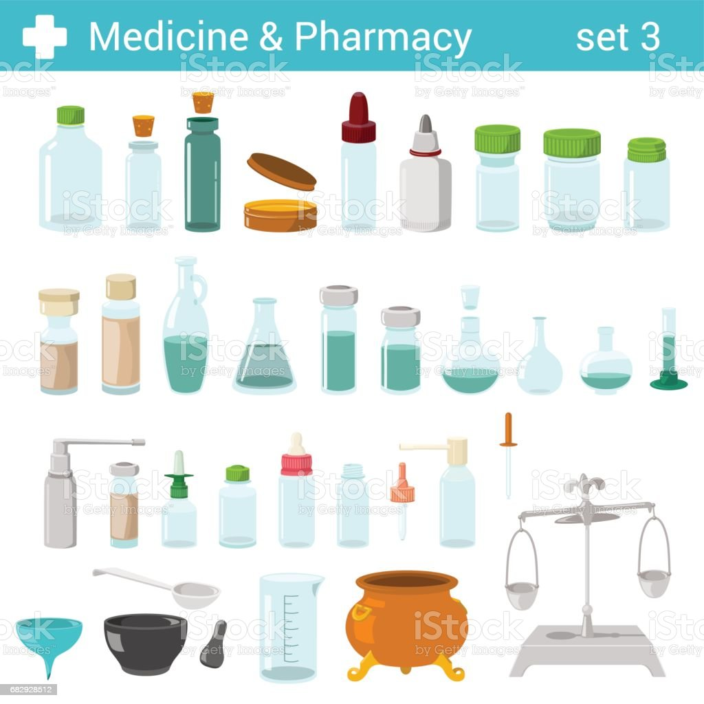 Flat style medical pharmaceutical bottles glasses containers scales icon set. Medicine pharmacy collection. royalty-free flat style medical pharmaceutical bottles glasses containers scales icon set medicine pharmacy collection stock vector art & more images of antiseptic