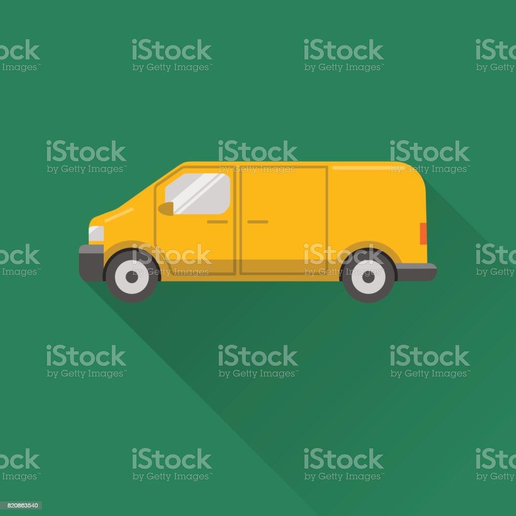 Flat style minivan car icon vector art illustration