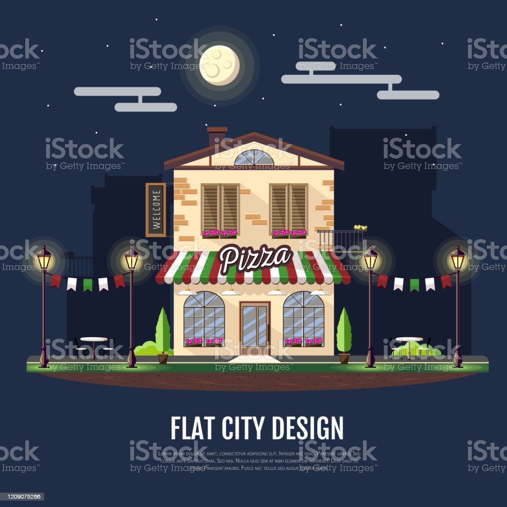 Flat Style Modern Icon Design Of Pizza Cafe Building Night Scene Retro Old Town Design Stock Illustration Download Image Now Istock