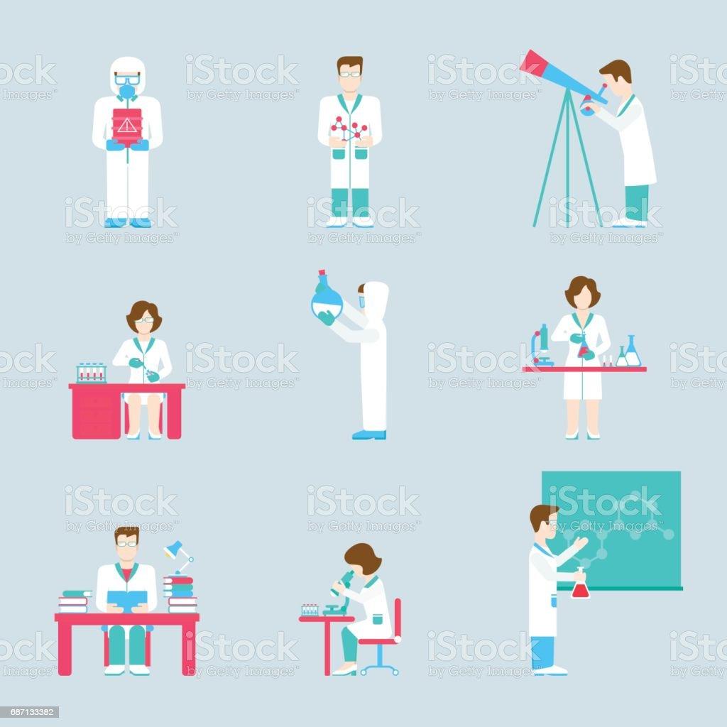 Ilustración de Conjunto Plana Los Modernos Iconos Ciencia ...