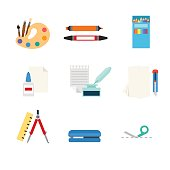 Flat style modern stationery tools web app concept icon set. Art paint palette marker pencil paper glue ink feather pen cutter knife compasses divider stapler cutting line. Website icons collection.