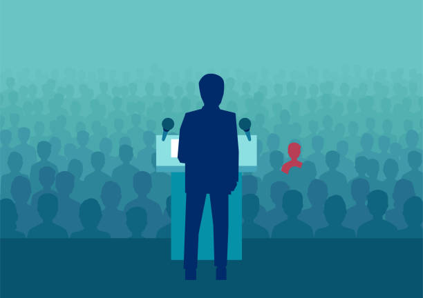 Flat style of politician making speech Vector design of political person meeting with crowd and making speech before election. spokesperson stock illustrations