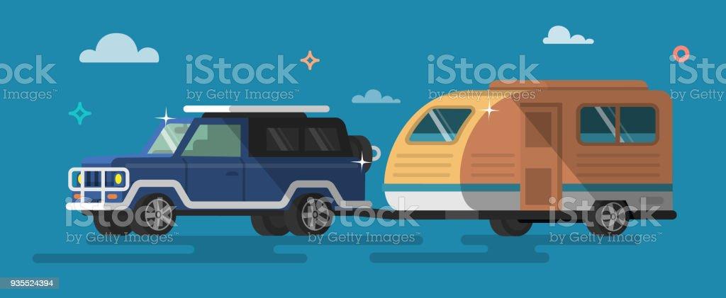 Flachen Stil Auf Roadtrip Autotourismus Camping Outdoorerholung