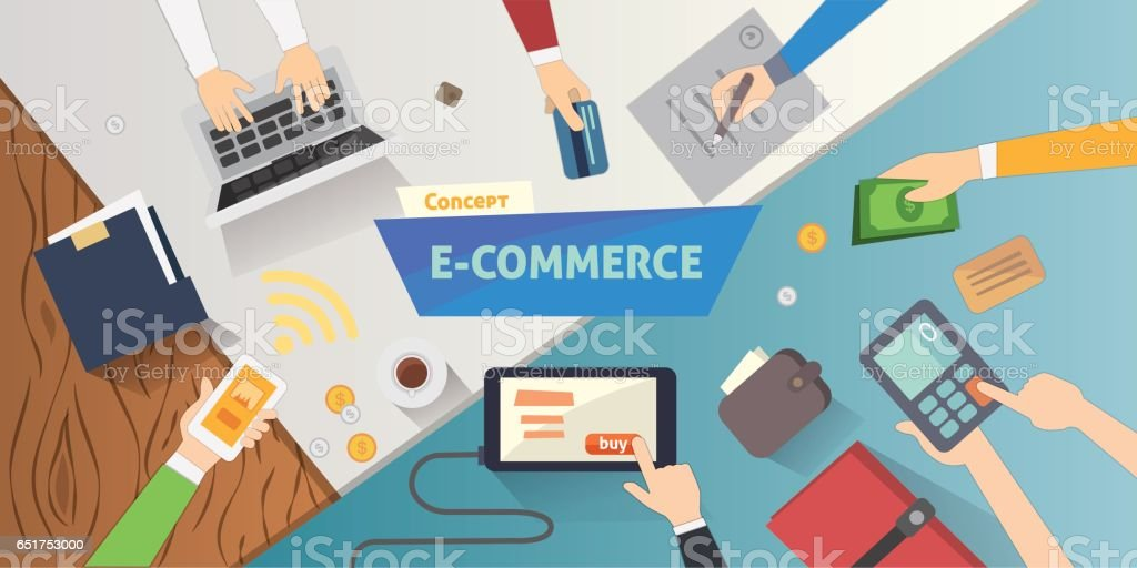 Flat Style Online Ecommerce Icons Mobile Store Banner Webpage Design With Shopping Cart And Sale Items Stock Illustration Download Image Now Istock