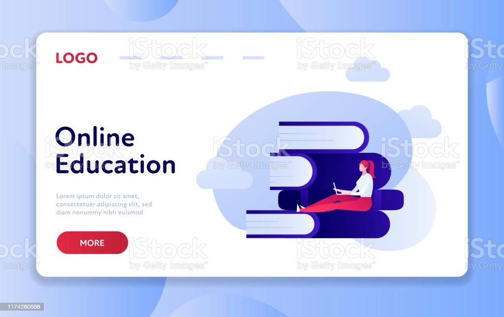 Flat Style Online Education Illustration Web Site Banner Template Stock Illustration Download Image Now Istock