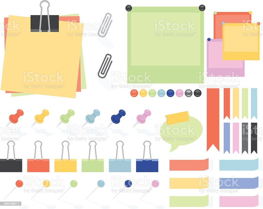 Flat Style Paper Notes And Stickers vector art illustration