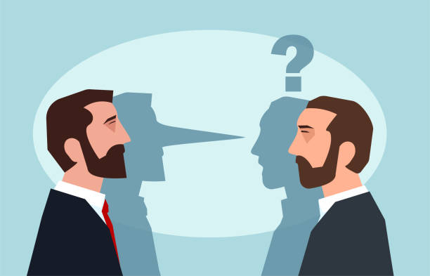 Flat style picture of businessman lying to another man leading business dishonestly. Flat style picture of businessman lying to another man leading business dishonestly. dishonesty stock illustrations