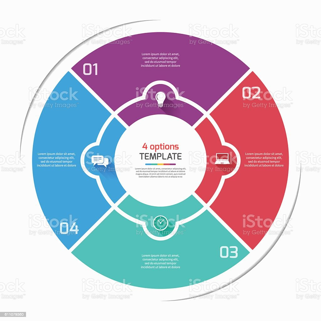 Flat style pie chart circle infographic template with 4 options flat style pie chart circle infographic template with 4 options royalty free flat style geenschuldenfo Images