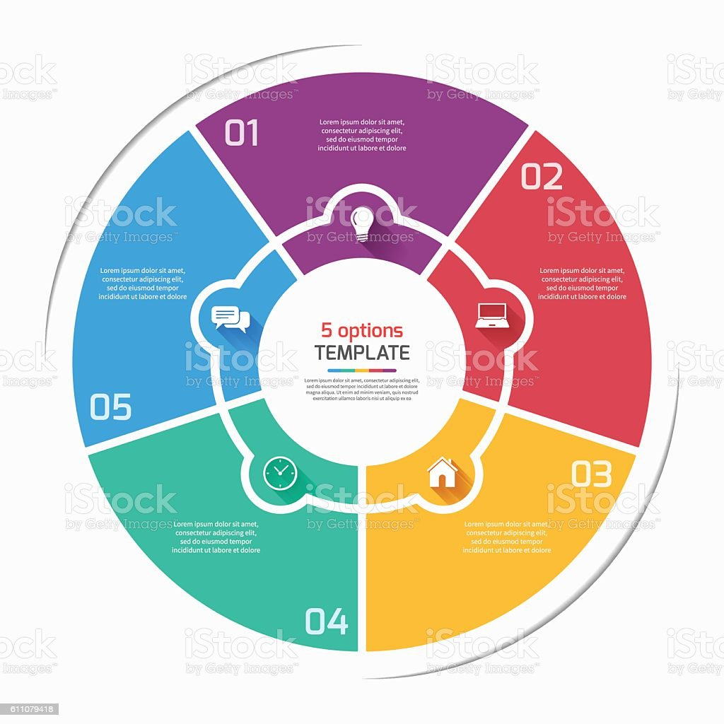 flat style pie chart circle infographic template with 5 options