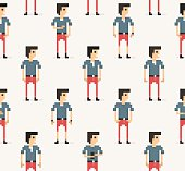 The flat style pixel-art people seamless background pattern in pastel colors with light background.