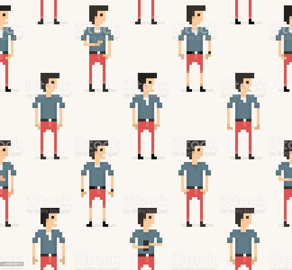 Flat Style Pixel-Art People Seamless Background vector art illustration