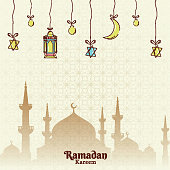 Flat style poster or template design with hanging lanterns, crescent moon and silhouette of mosque on arabic seamless pattern background for Ramadan Kareem.
